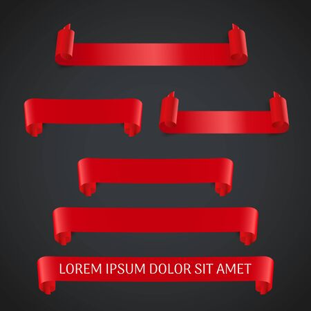 Red realistic ribbon banners set isolated. Vector illustration for design