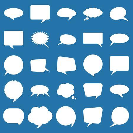 Speech bubbles set. Flat elements collection for design. Çizim