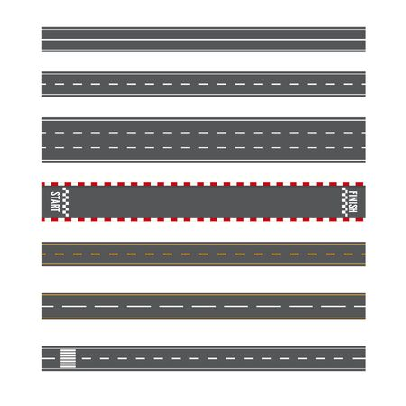 Set of Road Marking Isolated Background. Top View. Straight Highway Illustration