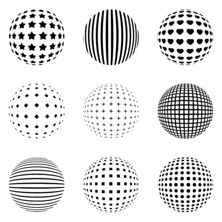 Set of geometric shapes. black and white spheres isolated. Stylish emblems. Vector geometric figures for web design.