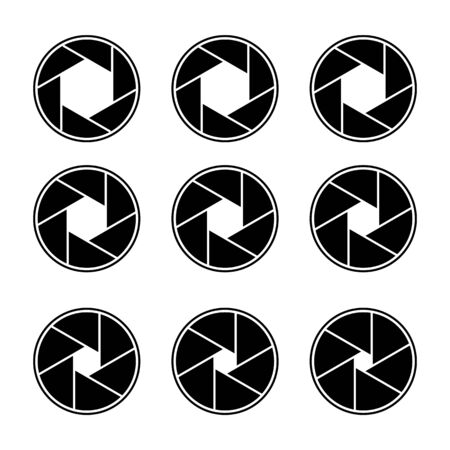 Camera lens diaphragm icon set. Camera shutter symbols, Vector illustration Ilustração