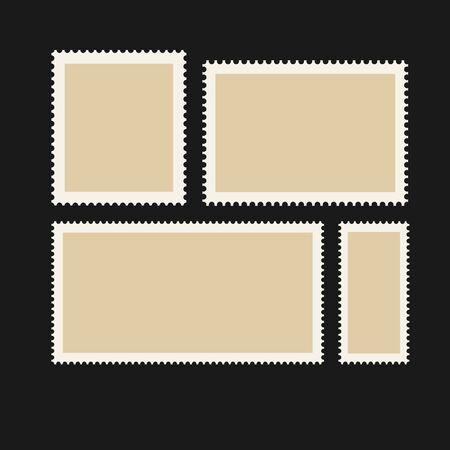 Post stamps set. Different postage symbols.