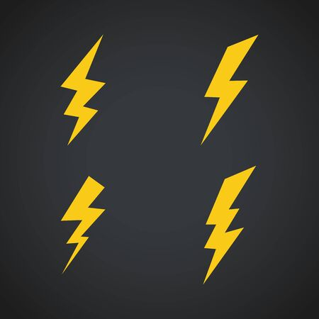 Lightning icons set. Vector symbols set on dark Ilustrace