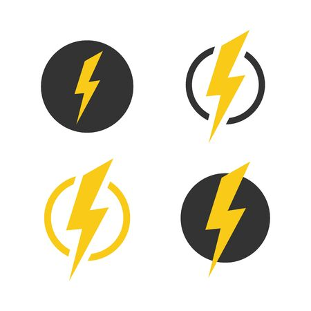Lightning icons set. Vector symbols collection on white