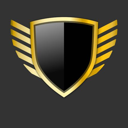 black and gold shield with wings symbol. Protection emblem. Vector illustration for design