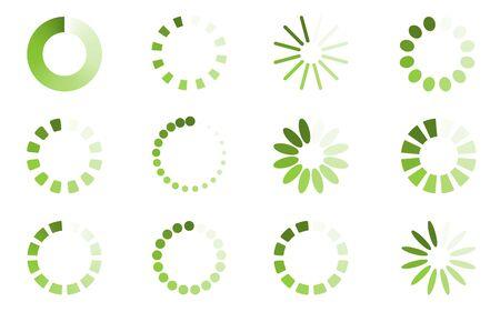 Green loading symbols set. Round download shapes collection. Menu vector wait design elements