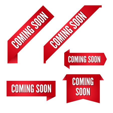 coming soon red vector ribbons collection. Banners set for design