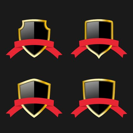 black and gold shields with red ribbons set. Protection emblems collection. Vector symbols for design Ilustração