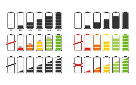 Battery charge indicator icons, vector graphics. Gsm energy level icons set. Design colored vector symbols.