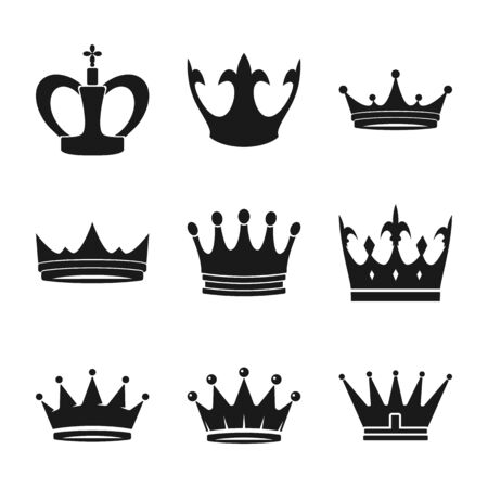 Crown symbols set. Luxury or leadership signs. Vector icons collection Ilustração
