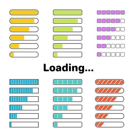 Colorful loading or progress bars set. Different type web UI elements. Vector design