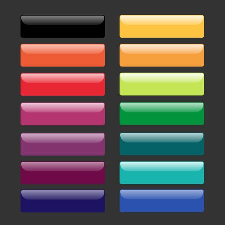Set of colorful glass buttons. Web design elements