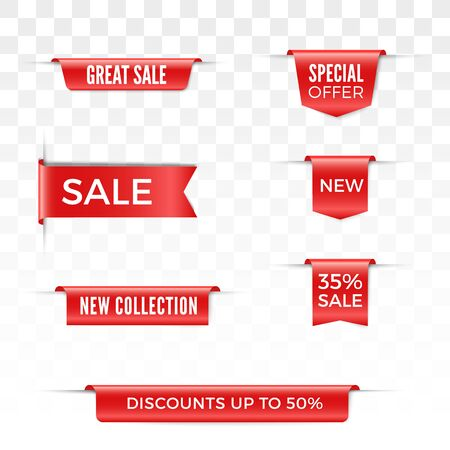 Set of sale red ribbons and labels. Vector discount banners Stock Illustratie