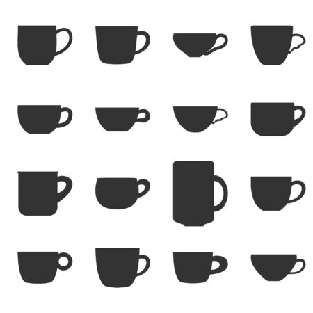 tea or coffee cups collection. Vector icons set. Cafe symbols