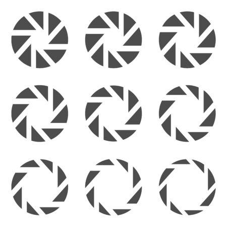 Camera lens diaphragm icon set. Camera shutter symbols, Vector illustration 向量圖像