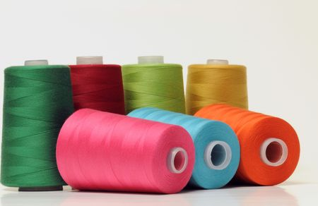 nylon string: Group of colorful threads Stock Photo