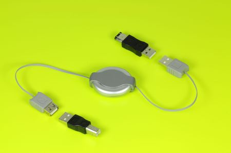 bidirectional: Portable travel USB connection cable Stock Photo