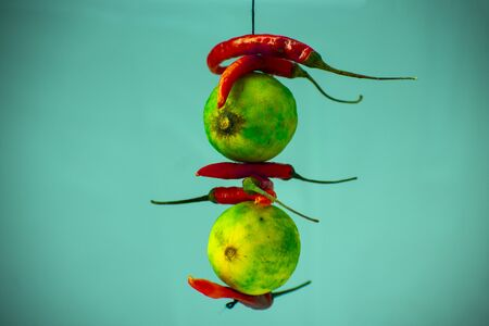 Lemon and Green Chilli hanging for anti curse anti bad omen. it is known as nimbu mirchi in hindi.