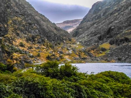 Lake and Serpentine at the gap of Dunloe Stock Photo