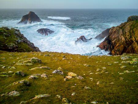 Cliff Breakers and Cliffs on the Irish Coast Stock Photo
