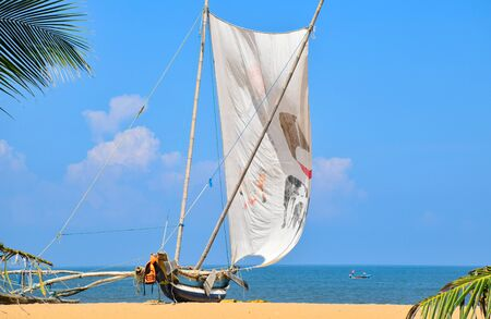 Traditional outrigger fishing boat sailing off the Negombo coastline in Sri Lanka. 写真素材