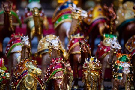 Beautiful camel souvenir as sold in the souq of Dubai, United Arab Emirates