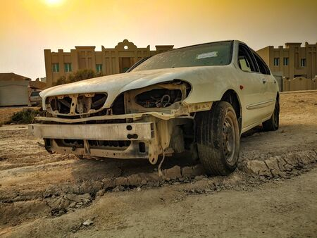 Desert Relic/Old Car rusting away in the desert Stock Photo