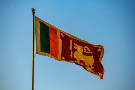 Srilankan flag flying high in Galle Face, Colombo, Sri Lanka