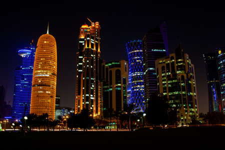 Qatar capital city Doha skyline with high rise buildings. Stock Photo