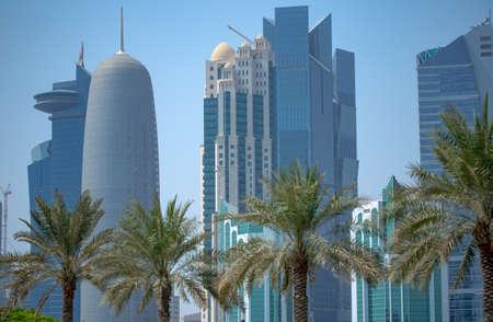 Qatar capital city Doha skyline with high rise buildings. Stock fotó - 150595306