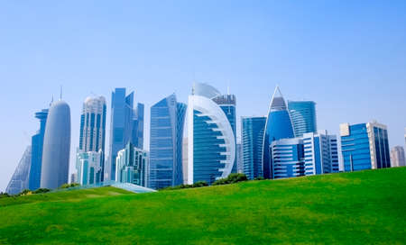 Qatar capital city Doha skyline with high rise buildings. Stock fotó - 150592739