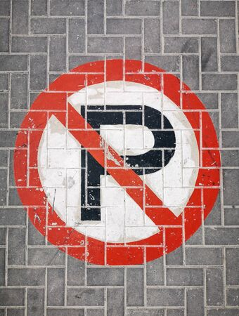 No Car parking sign painted on the road pavement Standard-Bild