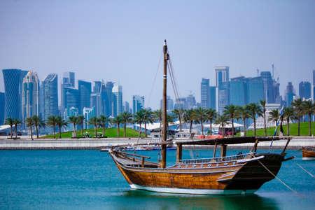 Qatar capital city Doha skyline with high rise buildings.