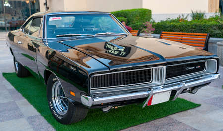 Doha,Qatar- 3 March 2020 :1969 Dodge charger black coupe car 新闻类图片