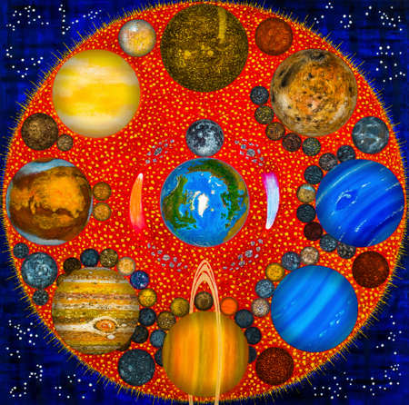The Solar System is like a Family. The sun is the head of the family. Large and small planets their satellites are located in proximity to the Sun in a circle counterclockwise from twelve o'clock.