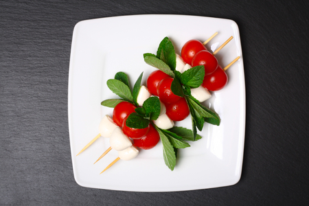 caprese: Caprese salad on sticks Stock Photo