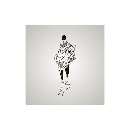 Sketch black and white, walking man.