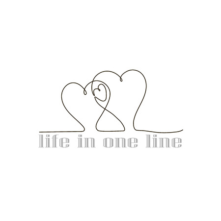 Hearts of three in a line, drawing hearts in one line.