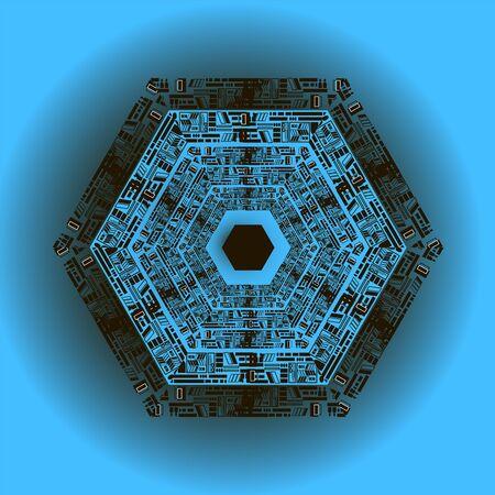 mandala on a blue background inscribed in a hexagon Ilustração