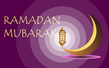 Ramadan Mubarak, on a claret background a month and a lamp Ilustração