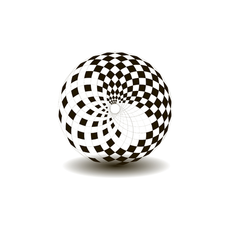 Ball with chess pattern, black and white color