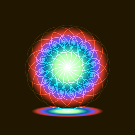 Portal light, spiral rainbow on a black background, in 3d