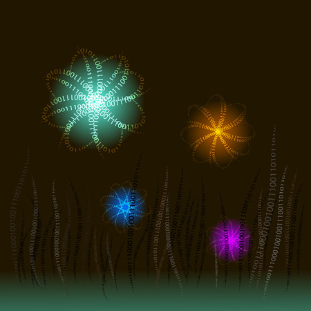 Flora digital on a dark background with zero and a unit in the form of grass and luminous balls