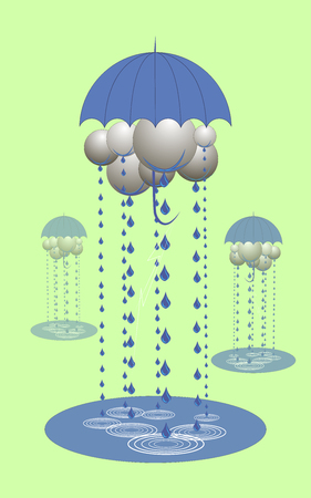 Abstract clouds under an umbrella, it rains, 3d