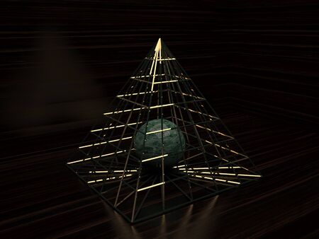 Ball in the golden pyramid 3d visualization
