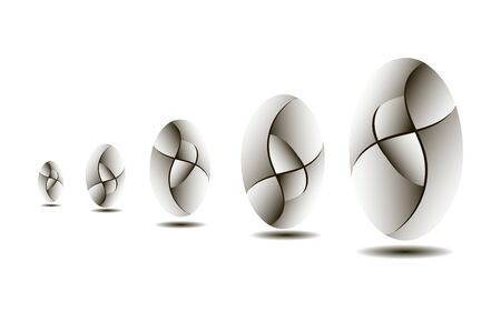 Egg-shaped abstract form with gradient divisions, vector graphics Çizim