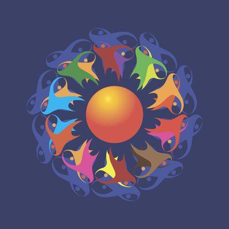tantric dances around the ball emblem for festivals Çizim