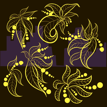 Yellow leaves with berries on a black background, autumn motif Illustration