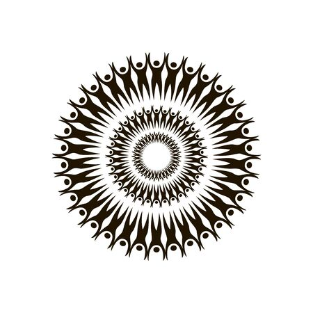 Mandala People with raised arms in a circle vector graphics