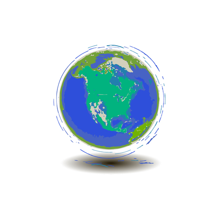 Planet earth in motion blue planet north america in vector graphics